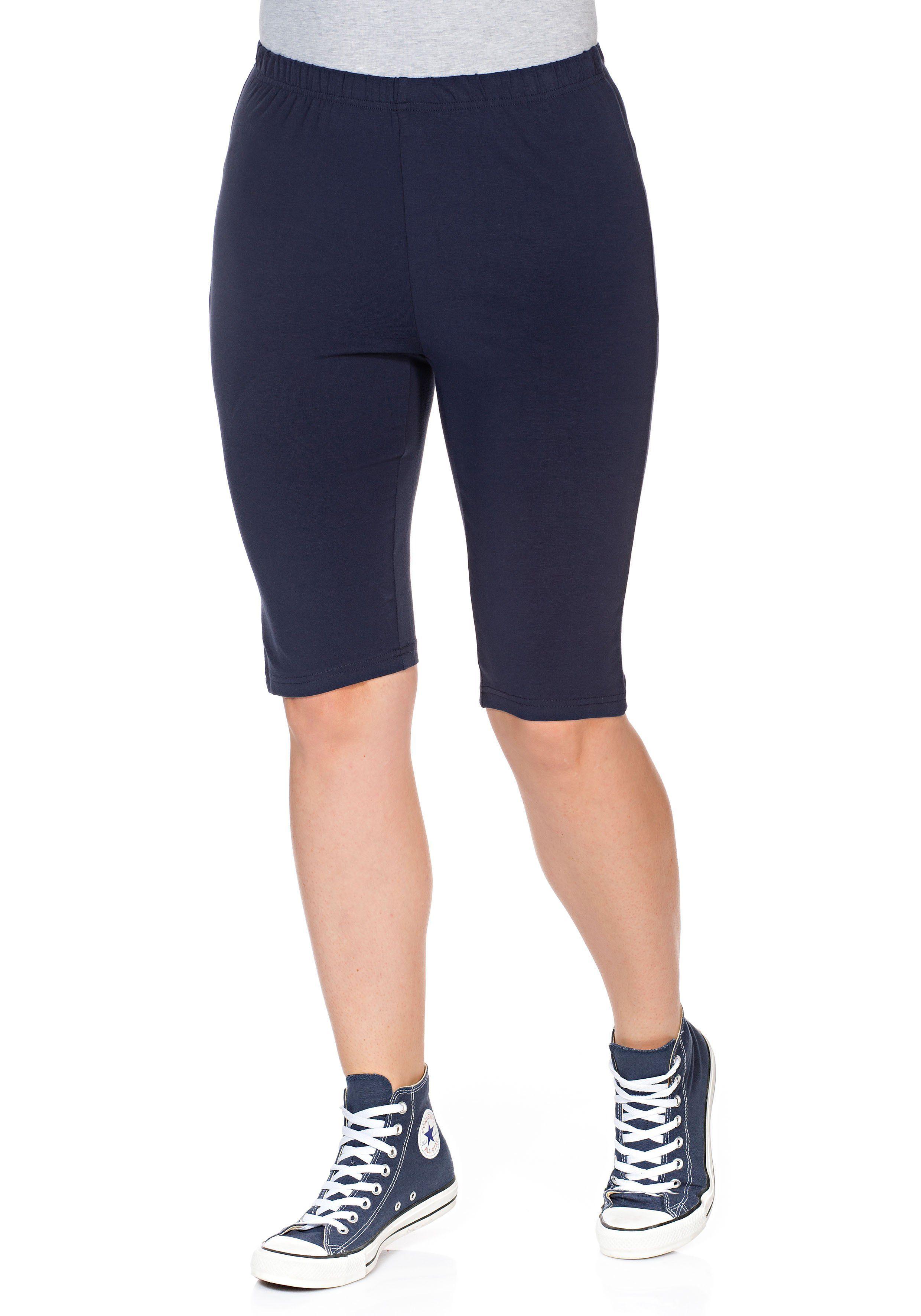 Sheego Radlerhose, mit hohem Baumwollanteil blau Damen Kurze Hosen Radlerhose