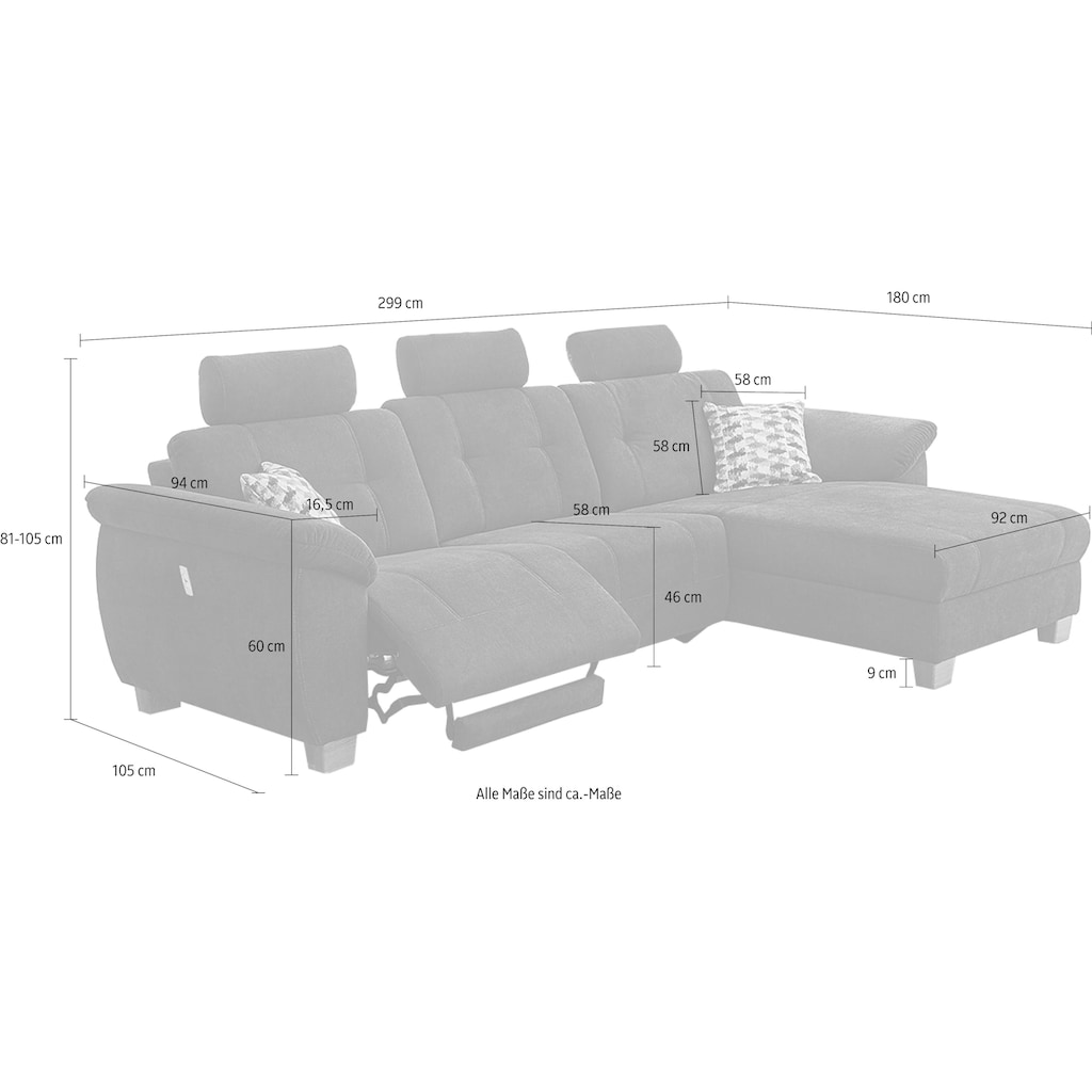 Jockenhöfer Gruppe Ecksofa, jeweils mit USB-Ladestation außen an der Armlehne und mit Relaxfunktion, wahlweise auch in der Ottomane, welche wahlweise links oder rechts montierbar ist, frei im Raum stellbar