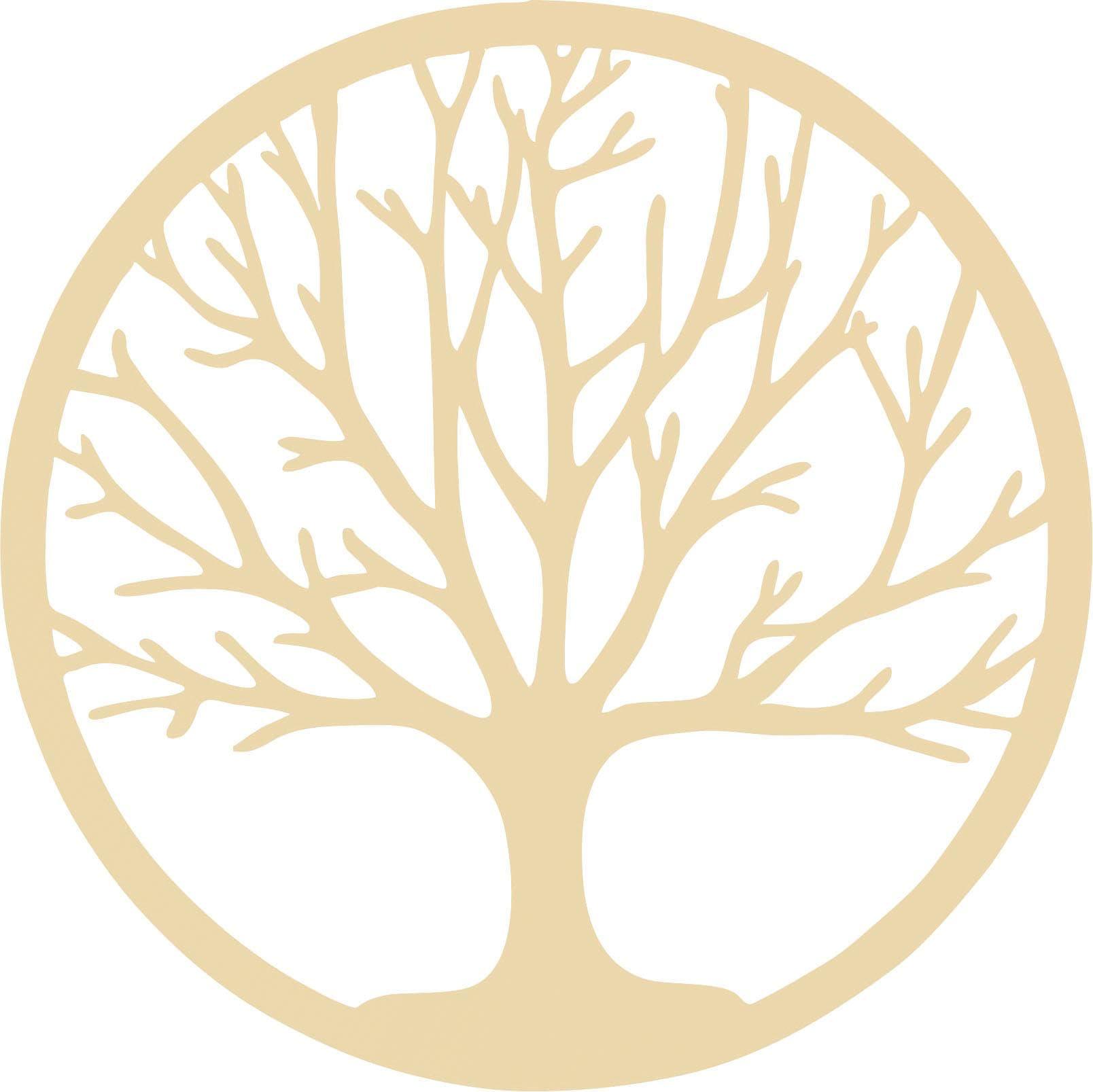 Wall-Art Wanddekoobjekt Holzdeko Pappel Furnier - Baum des Lebens beige Wanddekoration Deko Wohnaccessoires