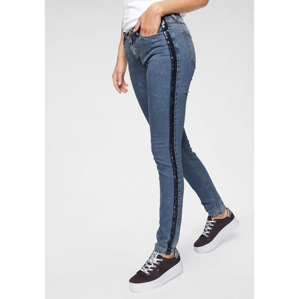 Aniston CASUAL Skinny-fit-Jeans, mit seitlichem Pailletten-Streifen