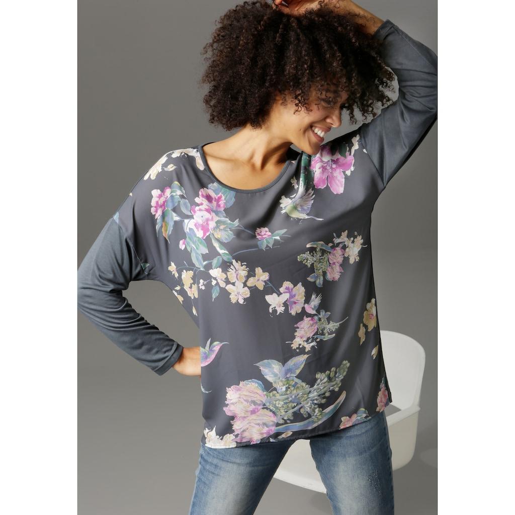 Aniston CASUAL Langarmshirt, mit Kolibris und Blumen bedruckt