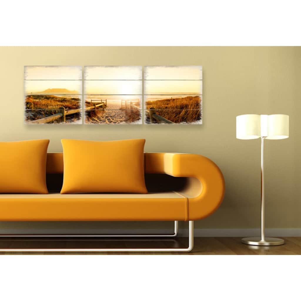Wall-Art Mehrteilige Bilder »Sonnenuntergang Holzbild Küche«, (Set, 3 St.)
