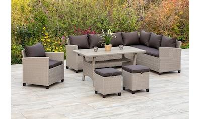 MERXX Gartenmöbelset »Palma«, (5 tlg.), Eckbank, Sessel, 2 Hocker, Tisch, mit Kissen kaufen