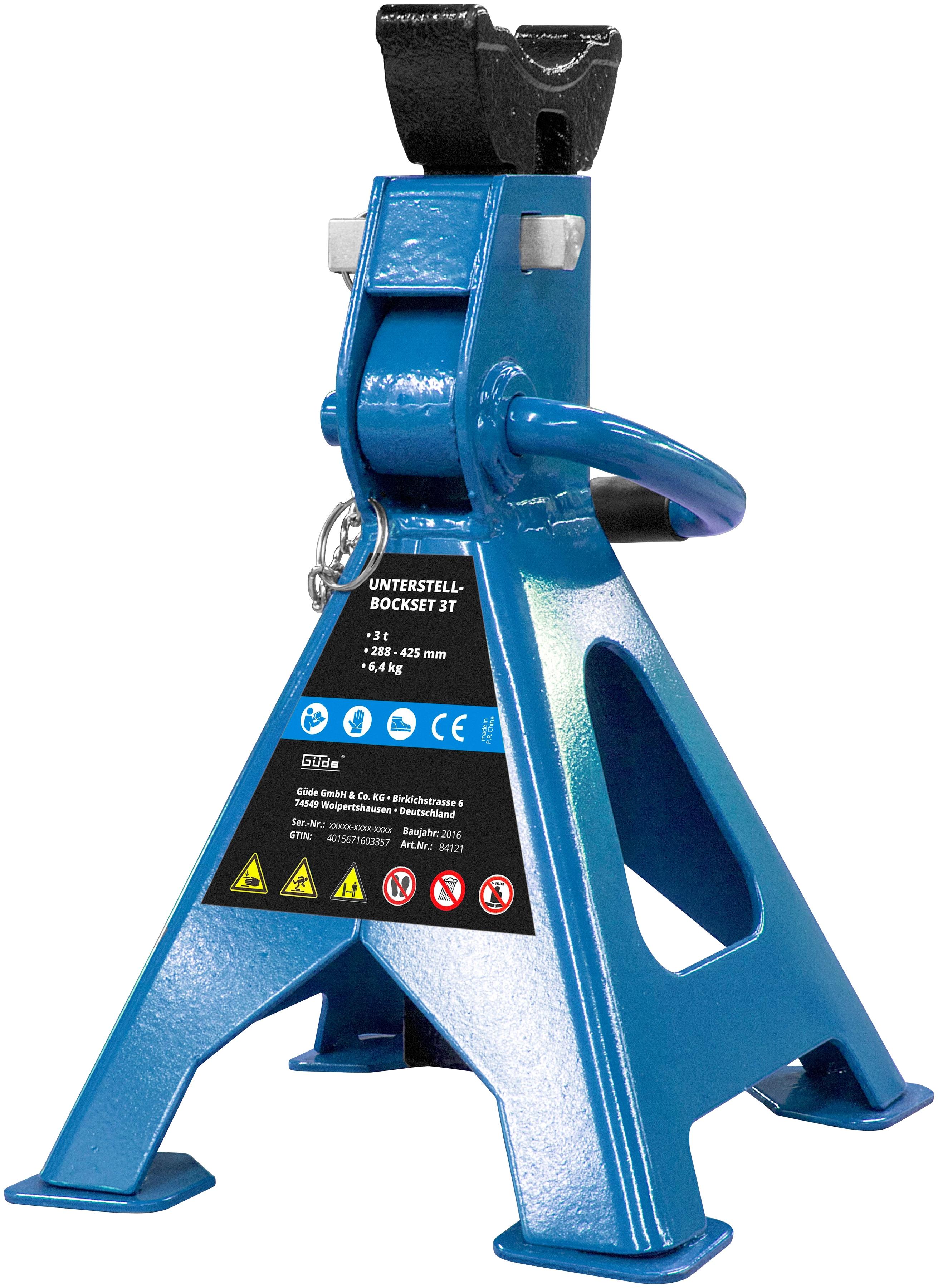 Güde Unterstellbock, Tragkraft je 3 Tonnen blau Wartung Werkstatt Autozubehör Reifen Unterstellbock