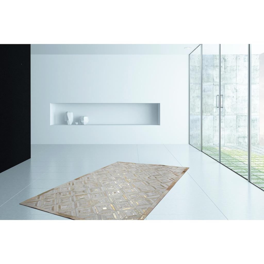 Kayoom Lederteppich »Spark 410«, rechteckig, 8 mm Höhe, Patchwork-echtes Leder-Fell, Wohnzimmer