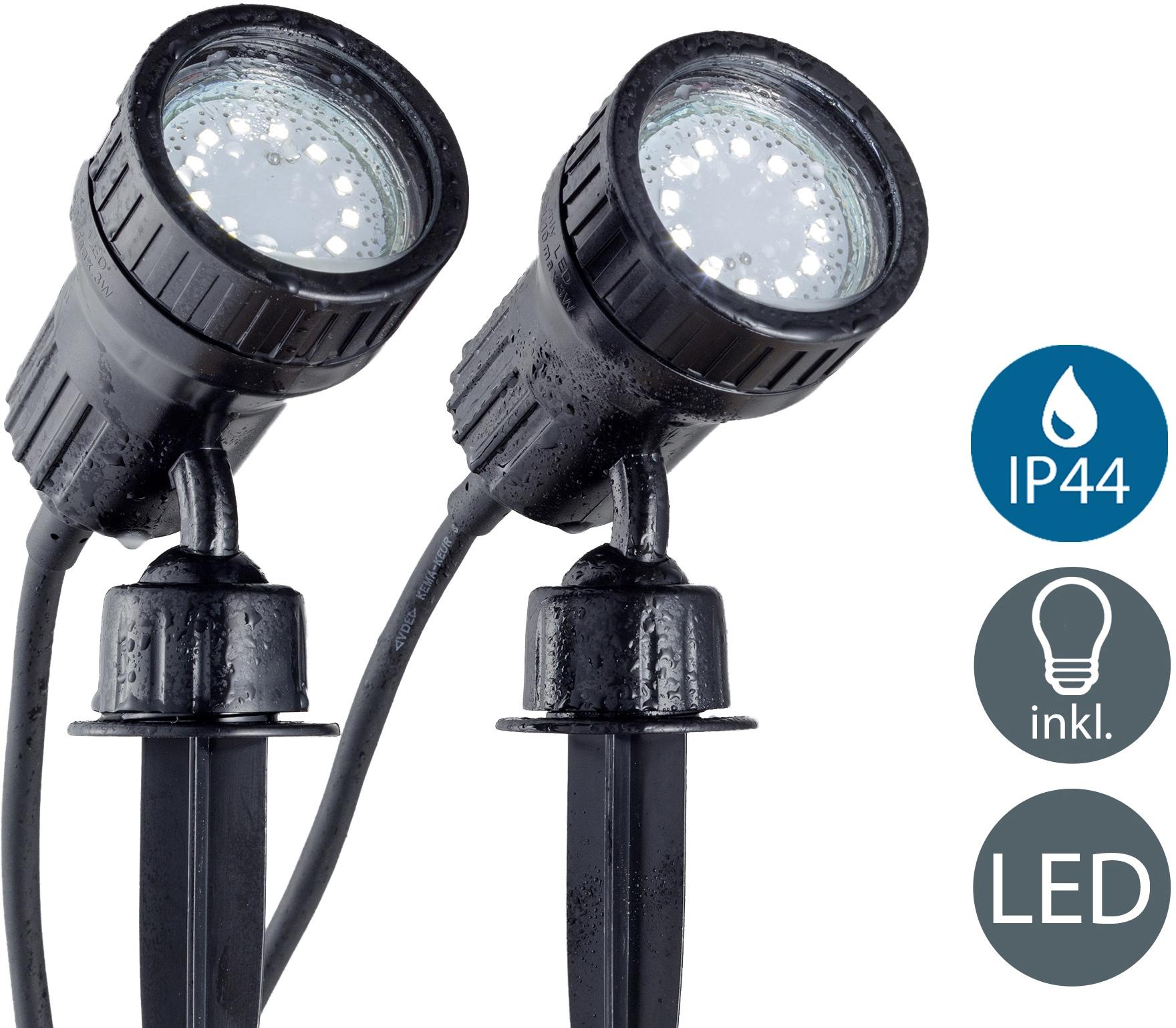 B.K.Licht LED Gartenleuchte Nima 2, GU10, 2 St., Warmweiß, LED Gartenstrahler Erdspieß IP44 Außenstrahler Strahler Spießstrahler 2er SET
