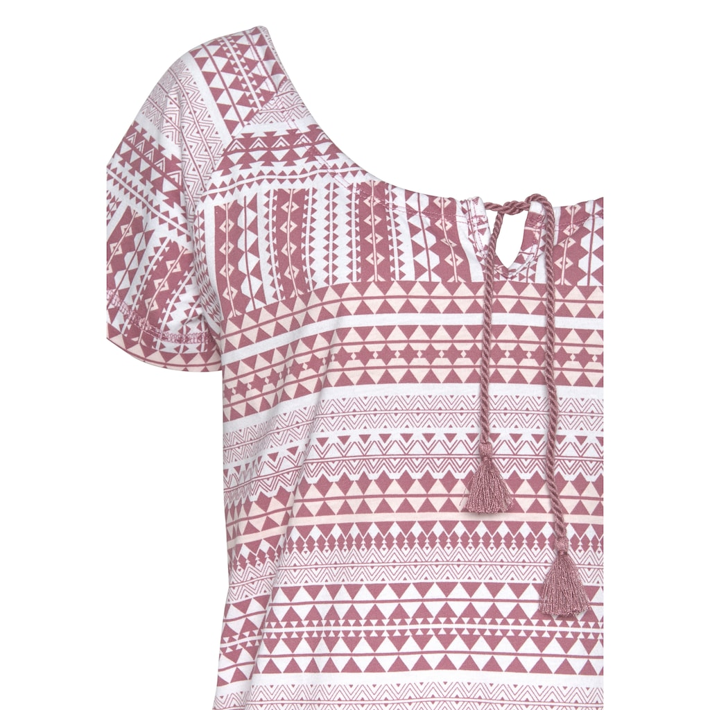 Vivance Dreams Nachthemd, im Ethno-Muster mit Kordel