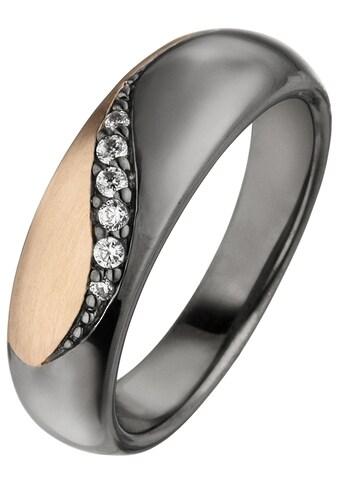 JOBO Silberring, 925 Silber schwarz und roségold bicolor mit 6 Zirkonia kaufen