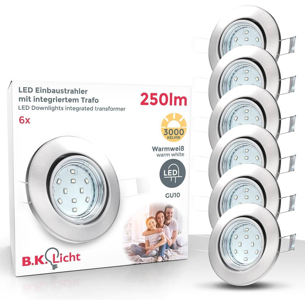 B.K.Licht LED Einbauleuchte »Hila«, GU10, 6 St., Warmweiß, LED Einbaustrahler schwenkbar inkl. 3W 250 Lumen GU10 3.000K 6er SET