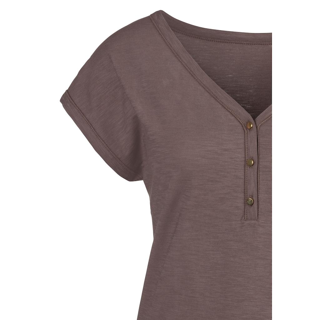 Vivance T-Shirt, mit Knopfleiste und goldfarbenen Knöpfen