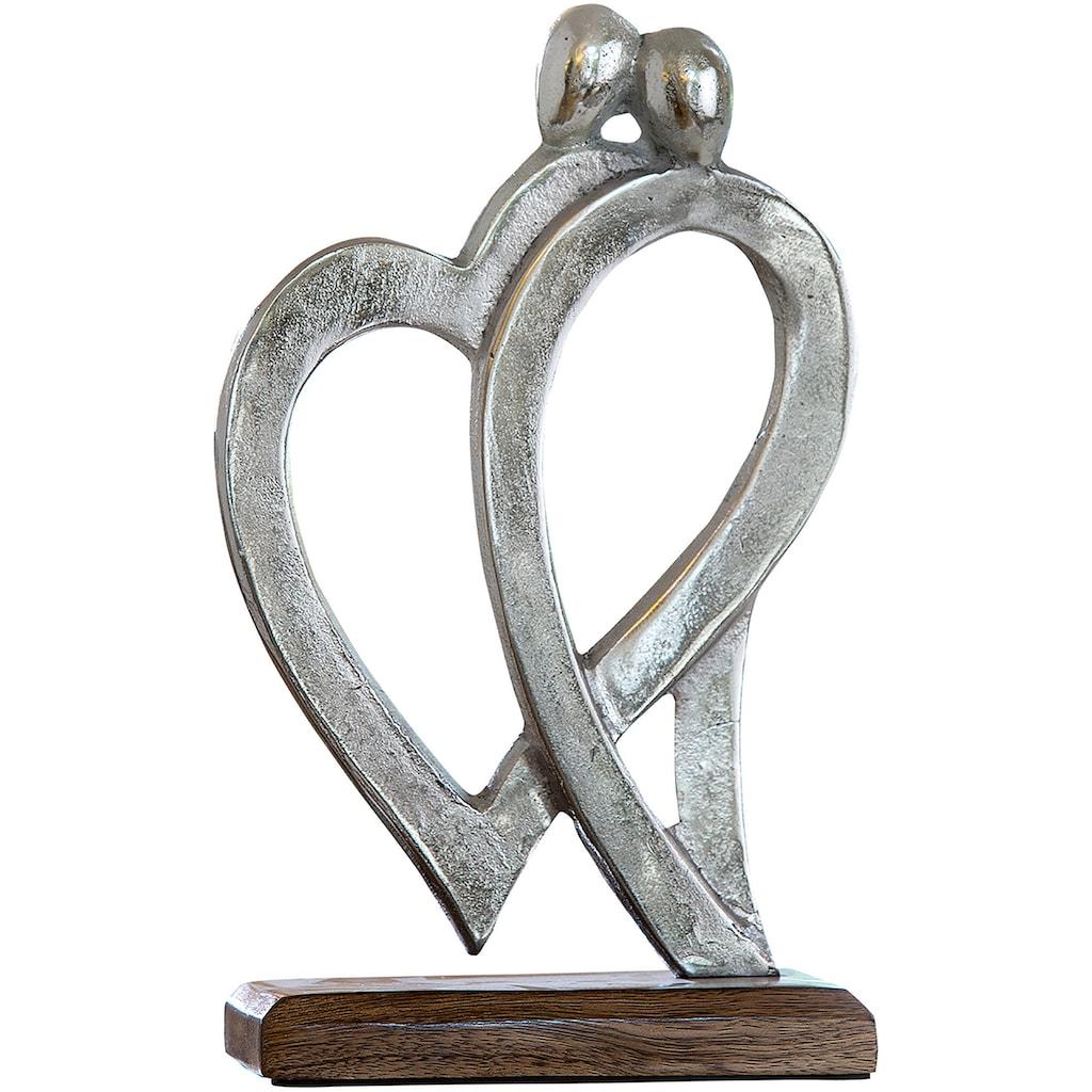 GILDE Dekofigur »Figura von Herzen«, Skulptur, Herz Form, aus Metall, Sockel aus Holz