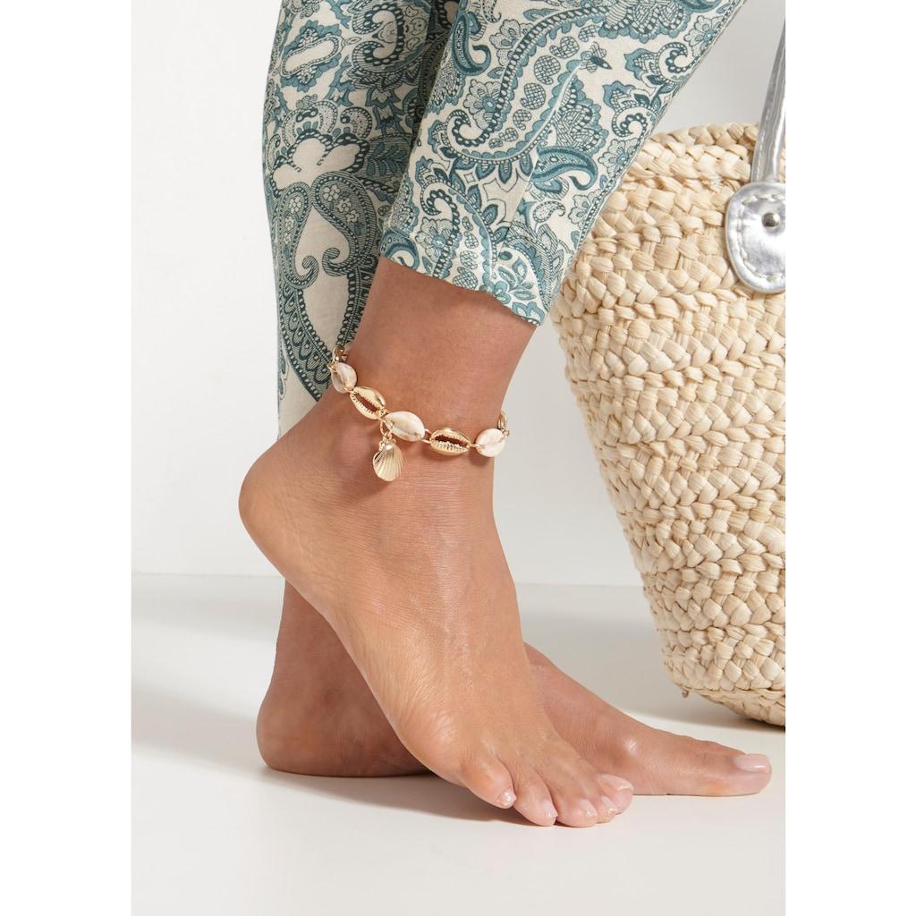 LASCANA Fußkette mit Anhänger, und Muschel-Imitaten