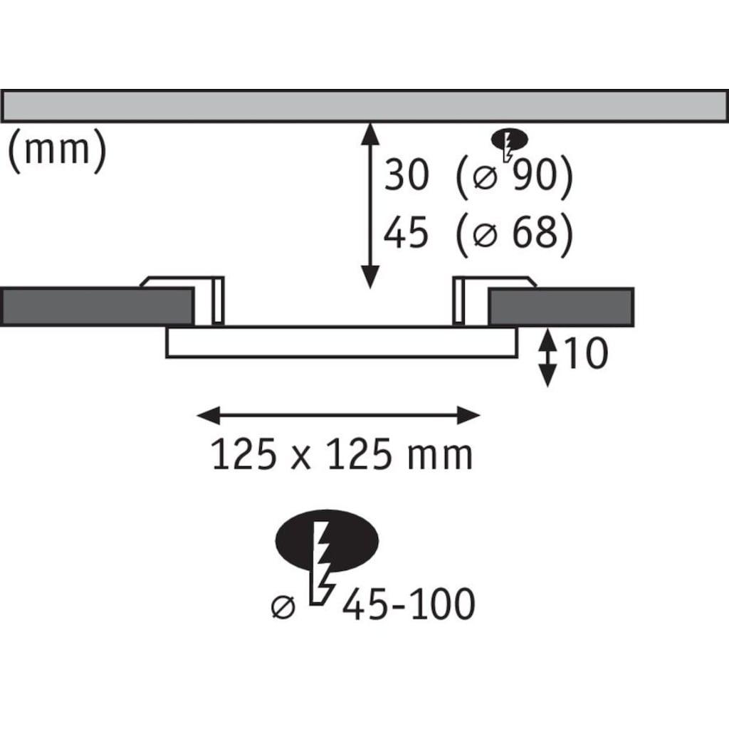 Paulmann LED Einbauleuchte »Panel Veluna VariFit IP44 eckig 125x125mm 8,5W 3.000K Satin«, 1 St., Warmweiß