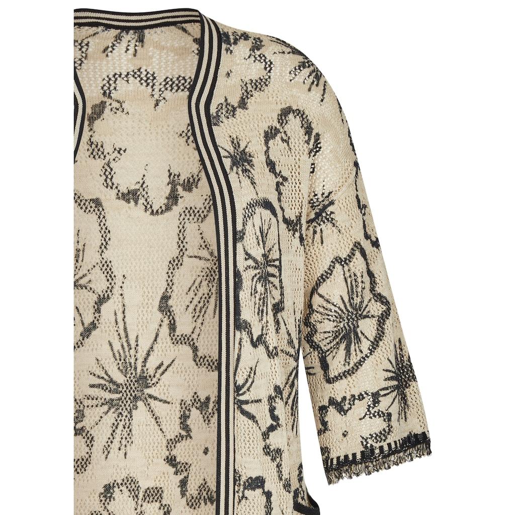 LeComte Longstrickjacke, mit floralem Muster und Fransen