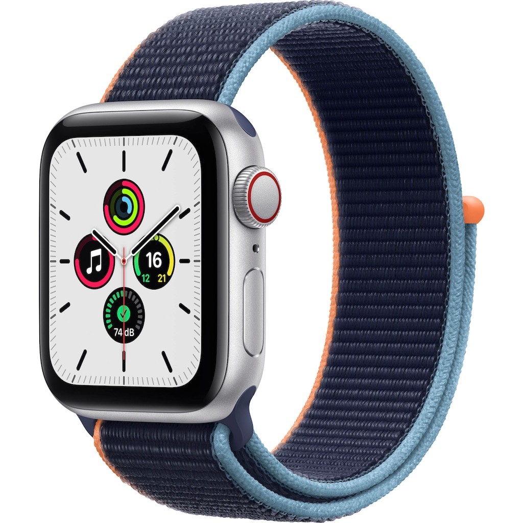 Apple Smartwatch »SE GPS + Cellular, Aluminiumgehäuse mit Sport Loop 40mm«, (Watch OS 6 inkl. Ladestation (magnetisches Ladekabel)