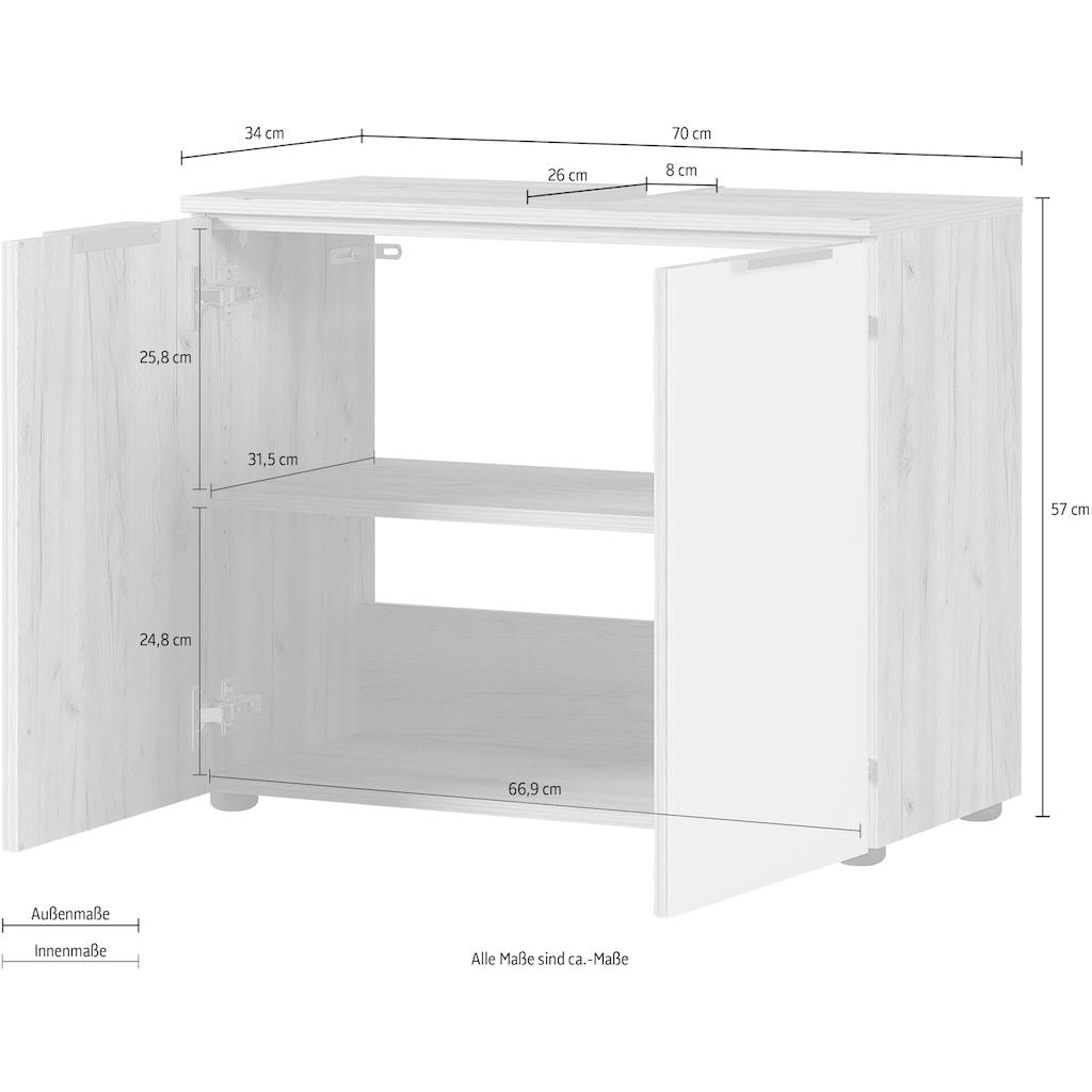 GERMANIA Waschbeckenunterschrank »Avino«, Breite 70 cm, Glasfronten, Soft-Close-Funktion