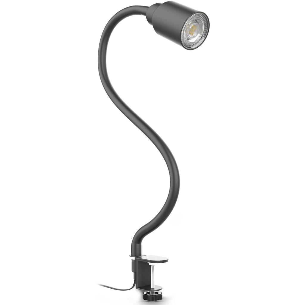 B.K.Licht Tischleuchte, GU10, 1 St., LED Klemmleuchte inkl. 5W GU10 Leuchtmittel Warmweiß flexibler Schwanenhals Schwenkbar Drehbar Kippschalter Metall Schwarz