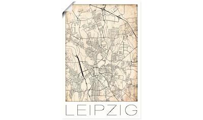 Artland Wandbild »Retro Karte Leipzig Deutschland Grunge«, Deutschland, (1 St.), in... kaufen