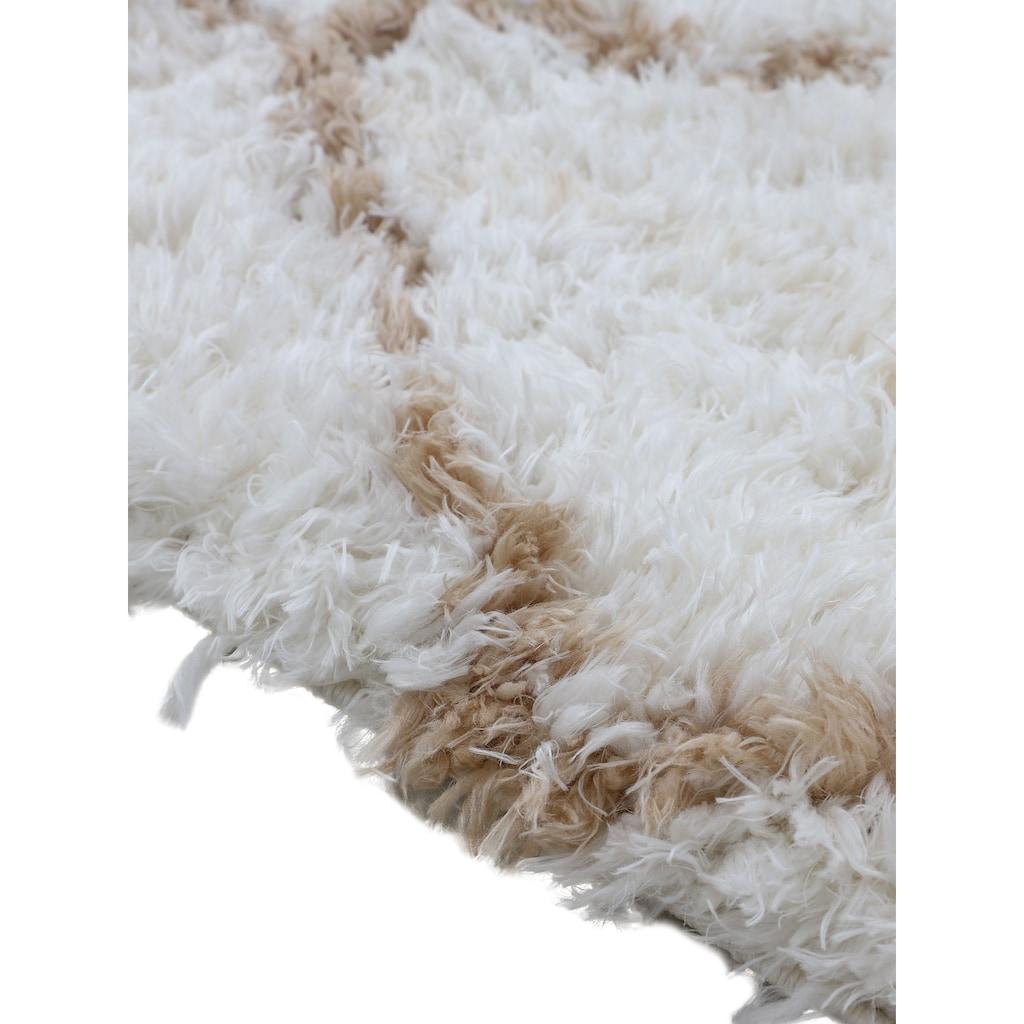 carpetfine Hochflor-Teppich »Eddy«, rechteckig, 30 mm Höhe, mit Fransen, Wohnzimmer