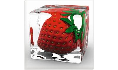 Artland Glasbild »Erdbeere in Eis«, Lebensmittel, (1 St.) kaufen
