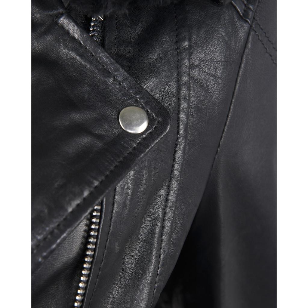 Maze Lederjacke mit weit gefächertem Hemdkragen