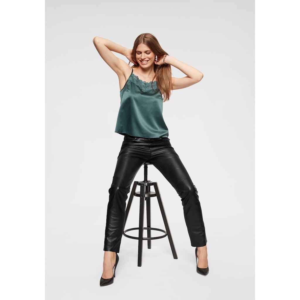 Laura Scott Lederhose, mit Teilungsnaht überm Knie