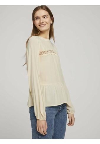 TOM TAILOR Denim Shirtbluse »Stehkragenbluse mit Schößchen« kaufen