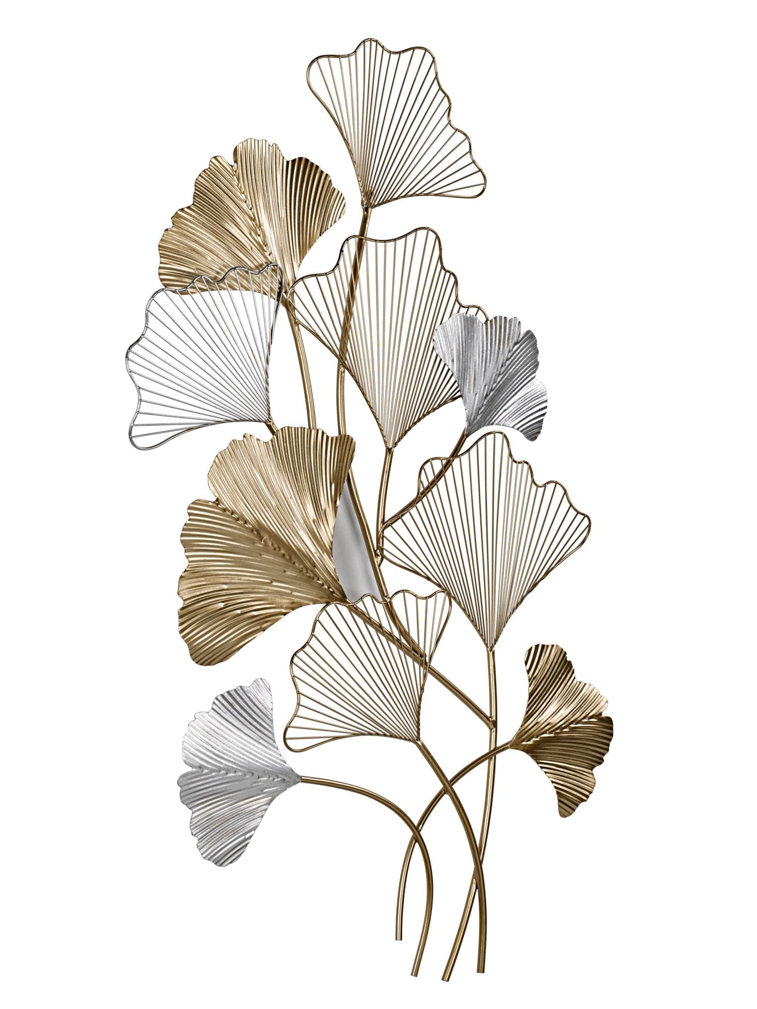 Heine Home Wanddeko Ginkgo-Blätter silberfarben Wanddekoration Deko Wohnaccessoires