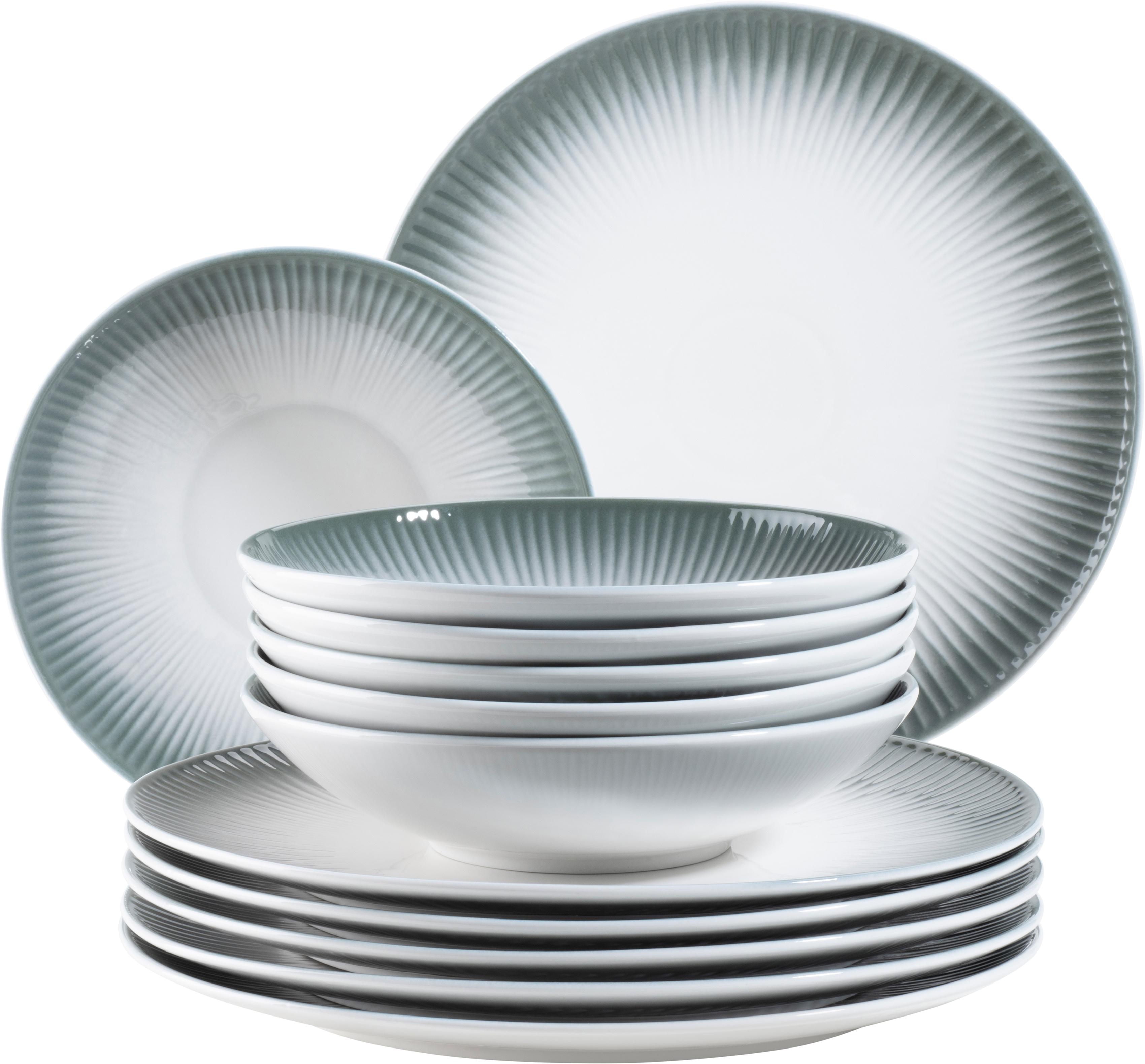 MÄSER Tafelservice Dalia, (Set, 12 tlg.), Vintage Look weiß Geschirr-Sets Geschirr, Porzellan Tischaccessoires Haushaltswaren