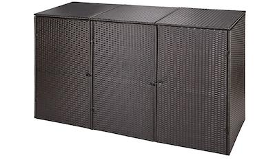 Mülltonnenbox , für 3x120 l aus Polyrattan, B/T/H: 189/66/109 cm kaufen