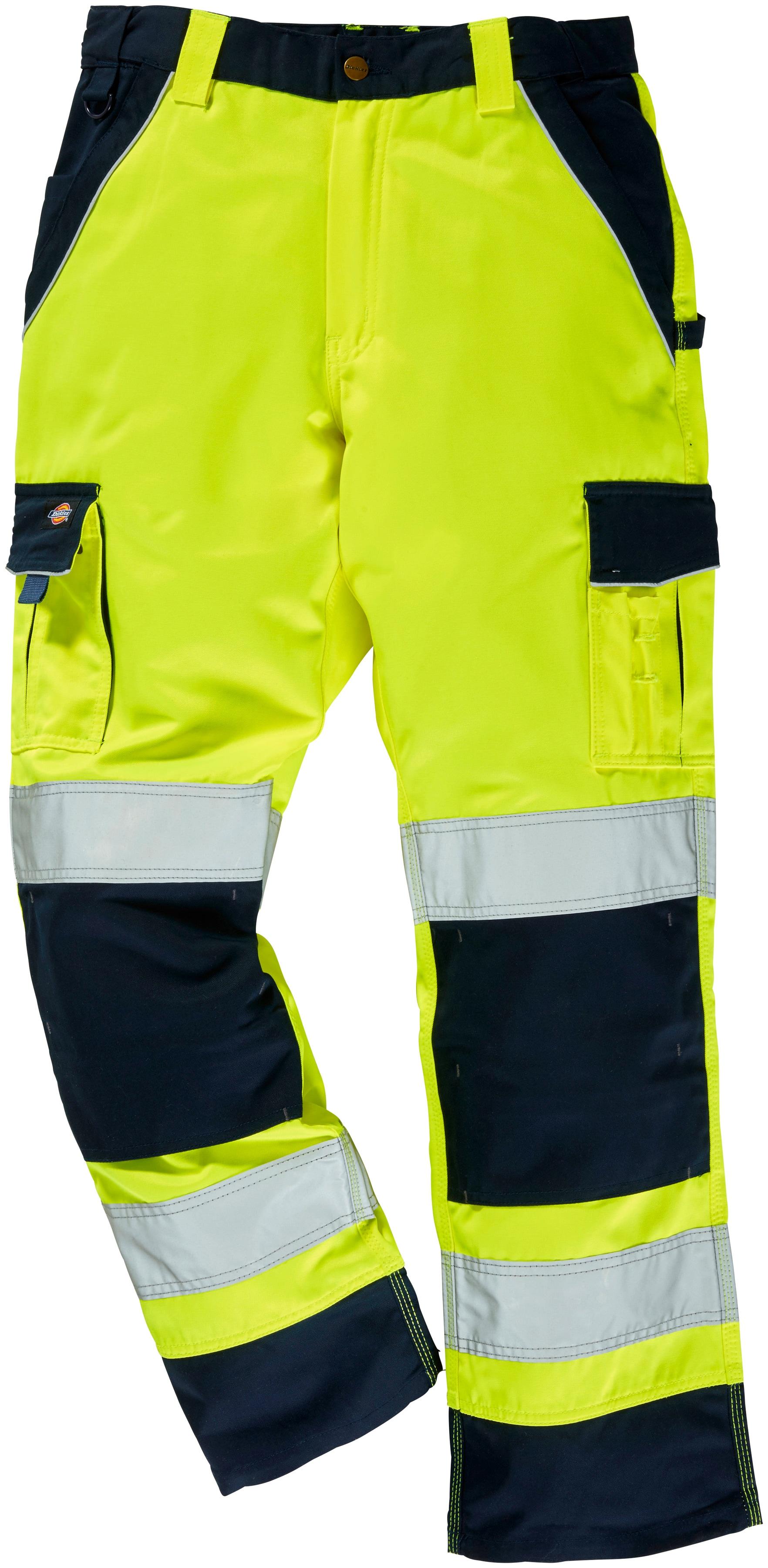 Dickies Arbeitshose Industry High Vis, mit Kniepolstertaschen gelb Herren Arbeitshosen Arbeits- Berufsbekleidung