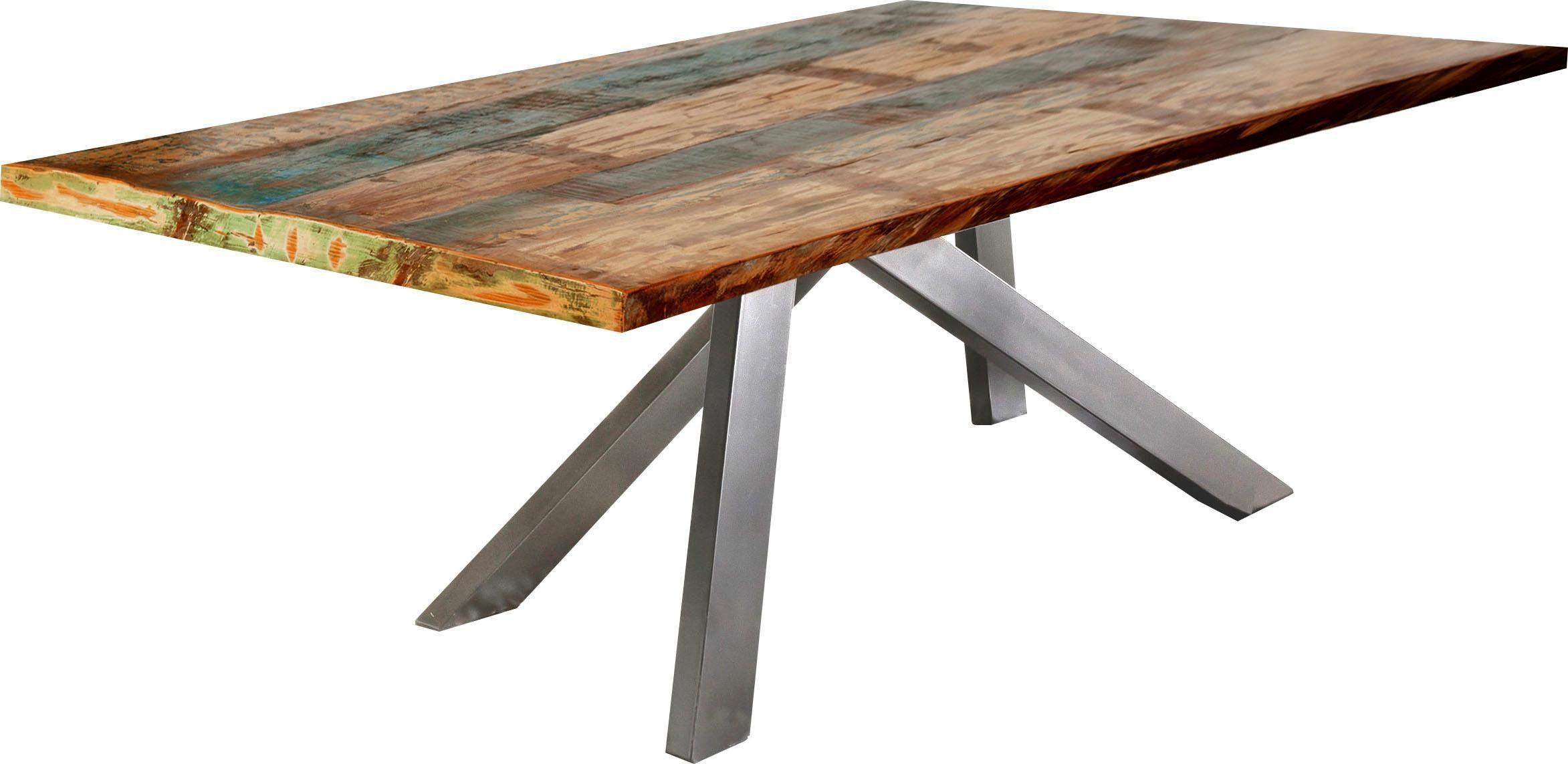 SIT Esstisch Tops&Tables, mit bunter Altholzplatte, Shabby Chic, Vintage bunt Holz-Esstische Holztische Tische
