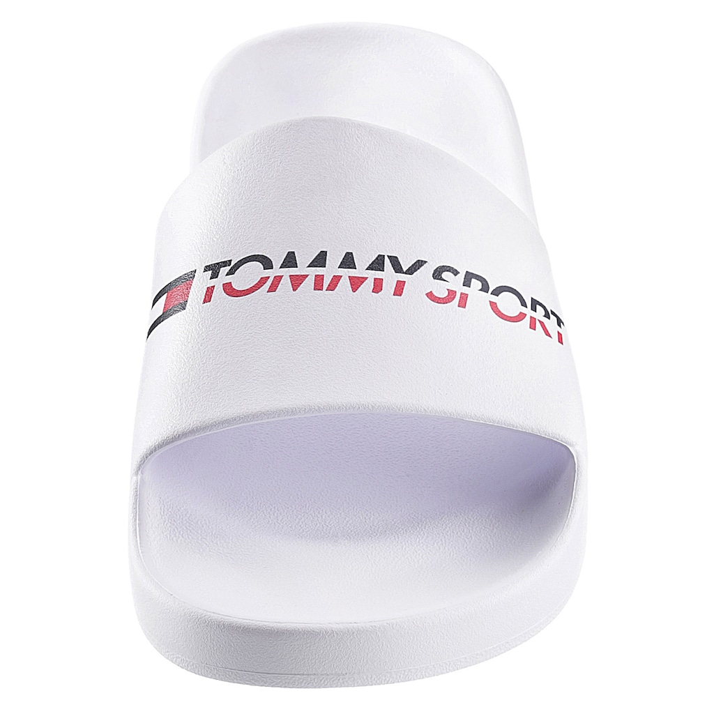 TOMMY HILFIGER SPORT Badepantolette »TS POOL SLIDE 2«, mit farbigem Logoschriftzug