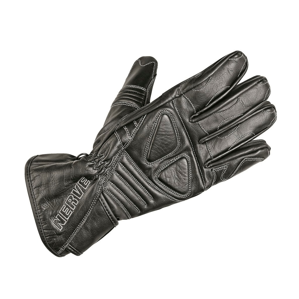 NERVE Motorradhandschuhe »Dark Leather«, Polsterung über den Fingerknöcheln