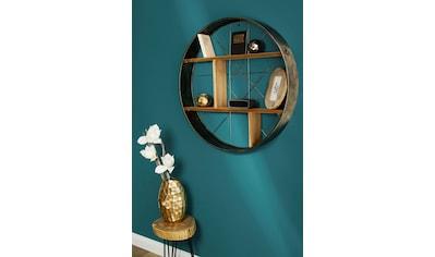 my Flair Wandregal »Graeco«, Holz & Metall, Runde Form, 2 Ablageböden, fertig montiert kaufen