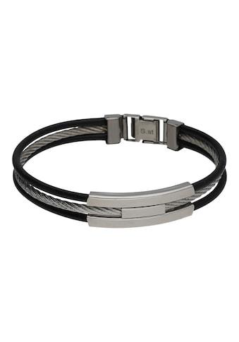 Jacques Charrel Armband »3 reihig, Kautschuk schwarz und Edelstahl-Kordel« kaufen