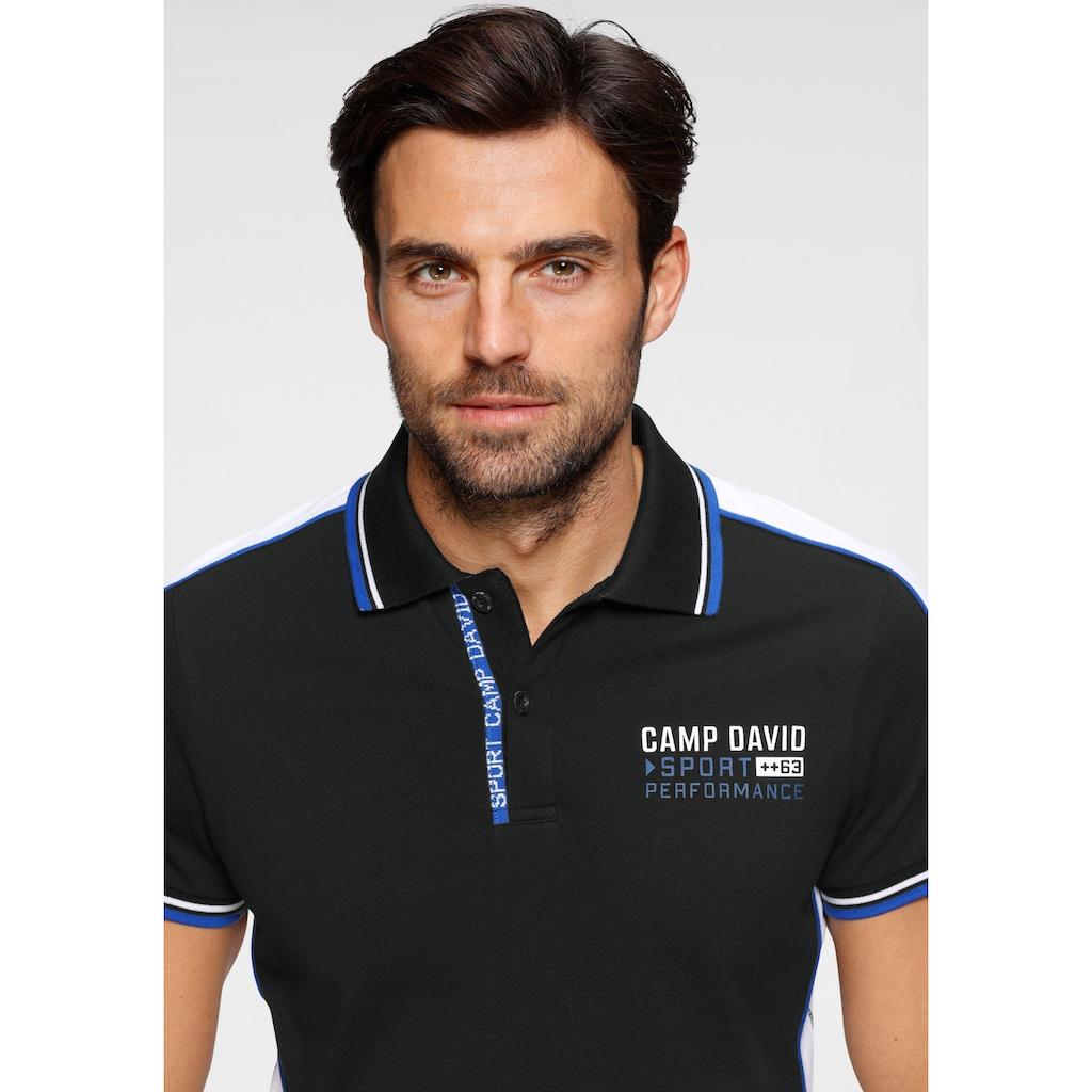 CAMP DAVID Poloshirt, mit Logobrustprint