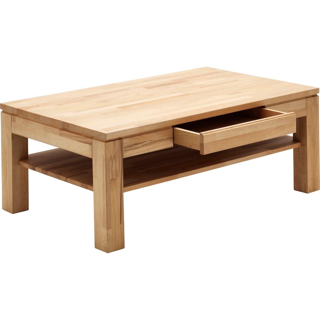 MCA furniture Couchtisch, Couchtisch Massivholz mit Schublade