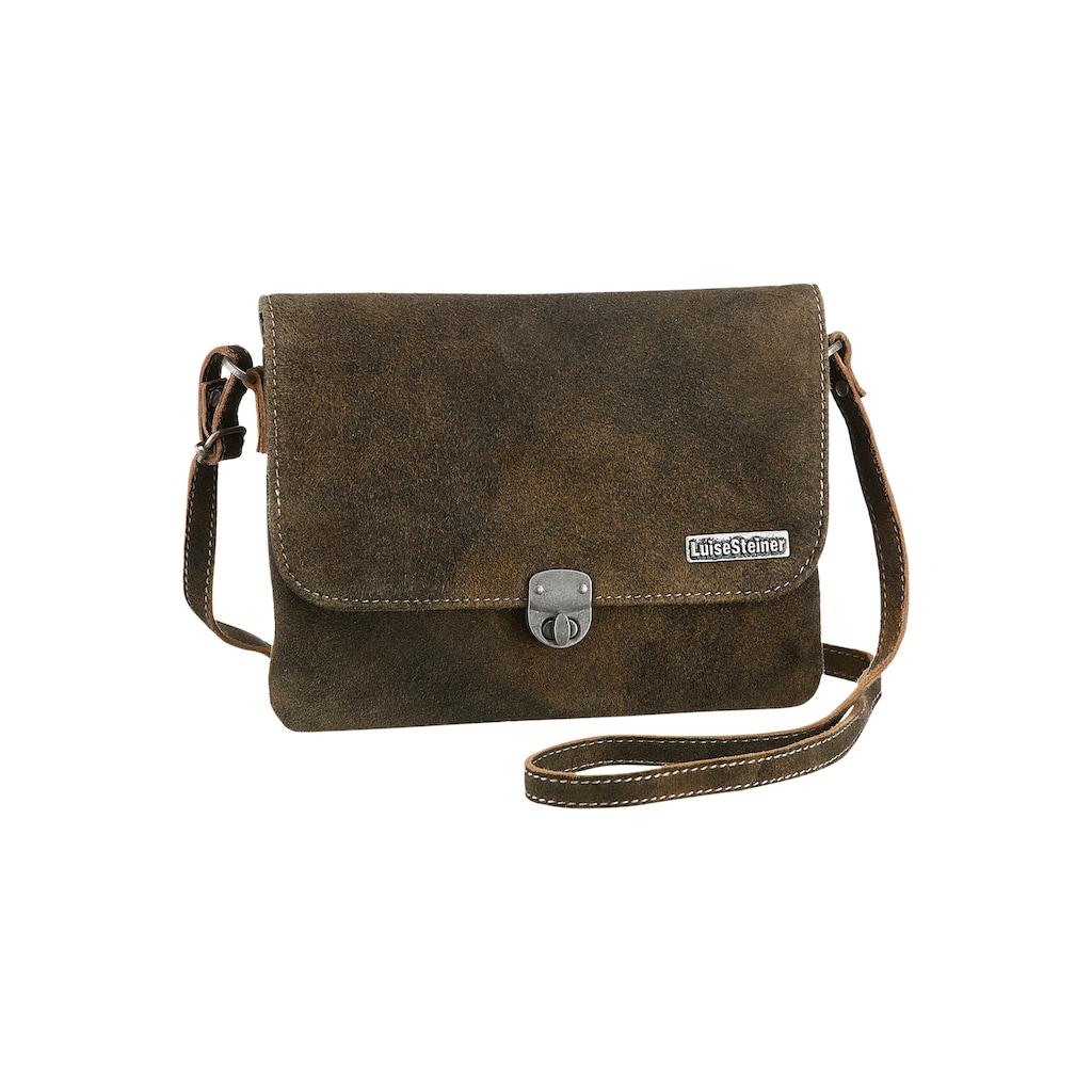 Trachtentasche, aus Veloursleder im Used-Look