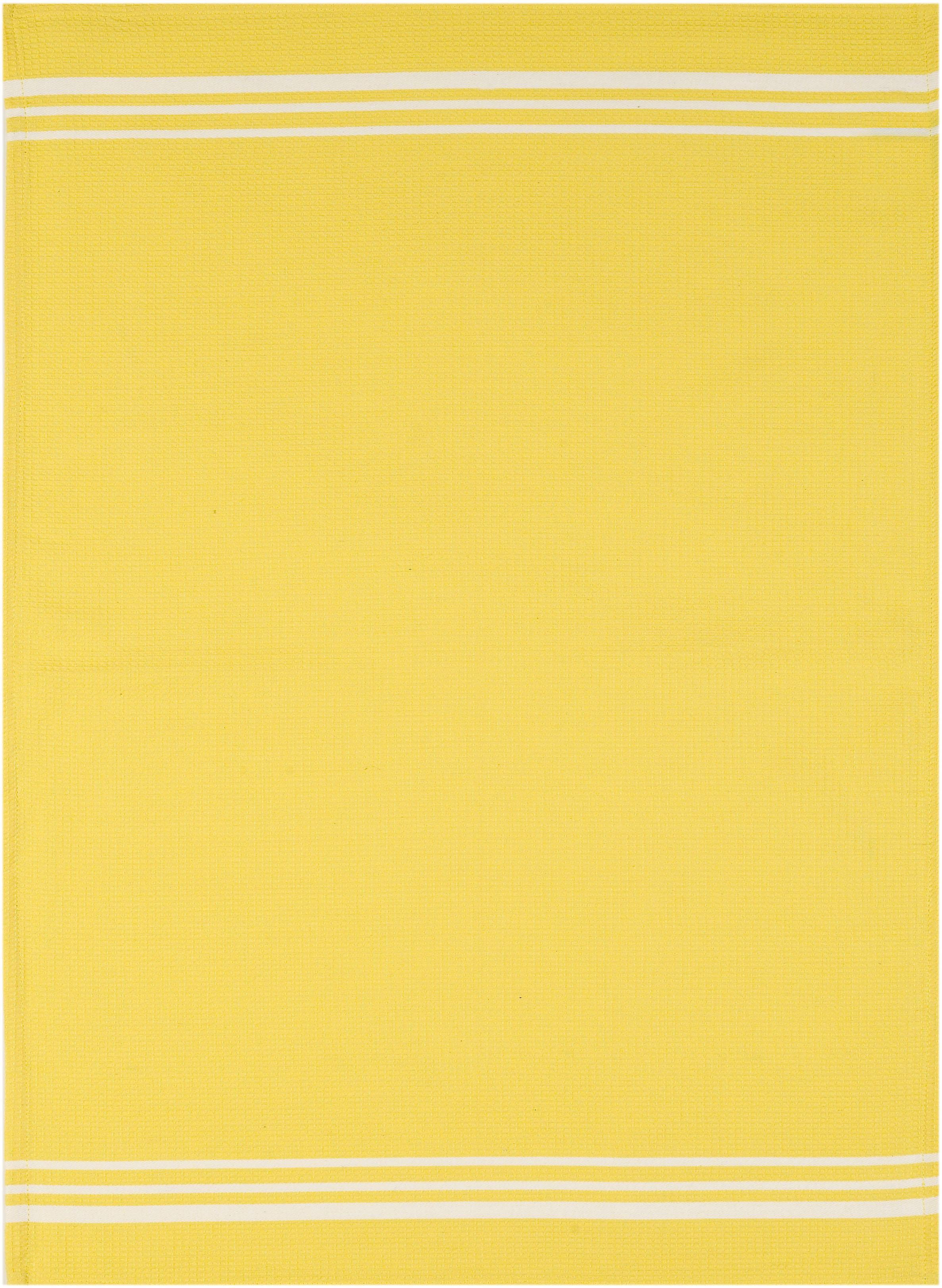 stuco Geschirrtuch Waffel, farbig, (Set, 3 tlg.) gelb Geschirrtücher Küchenhelfer Haushaltswaren