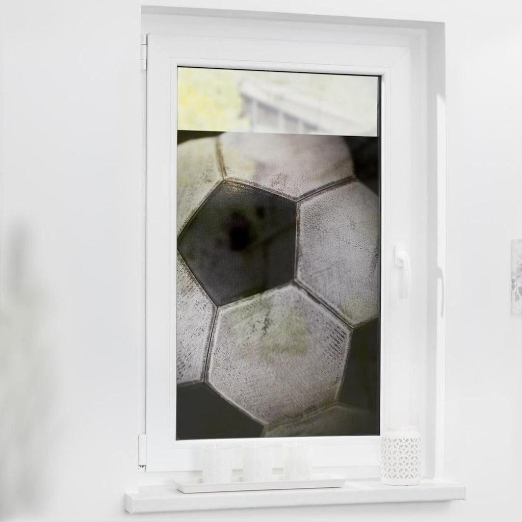 LICHTBLICK ORIGINAL Fensterfolie »Fensterfolie selbstklebend, Sichtschutz, Retro Fußball - Schwarz-Weiß«, 1 St., blickdicht, glattstatisch haftend