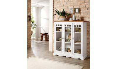 Home affaire Glasvitrine »Melissa«, mit 3 Türen, aus massivem Kiefernholz, mit dekorativer Rahmenoptik, Höhe 135 cm kaufen