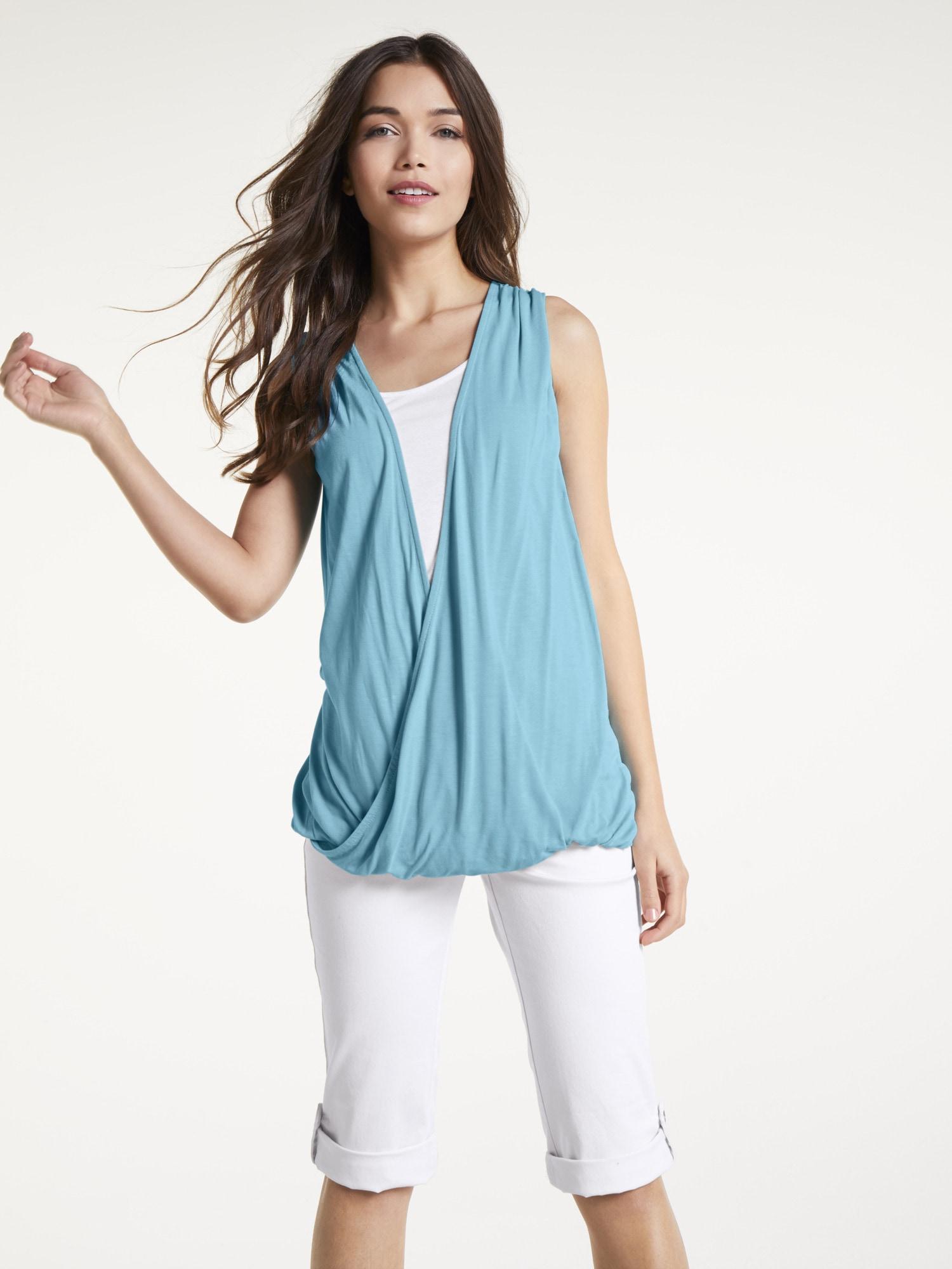 heine CASUAL Shirttop Two-in-One Optik | Bekleidung > Tops > 2-in-1-Tops | Blau | Viskose | Heine Casual