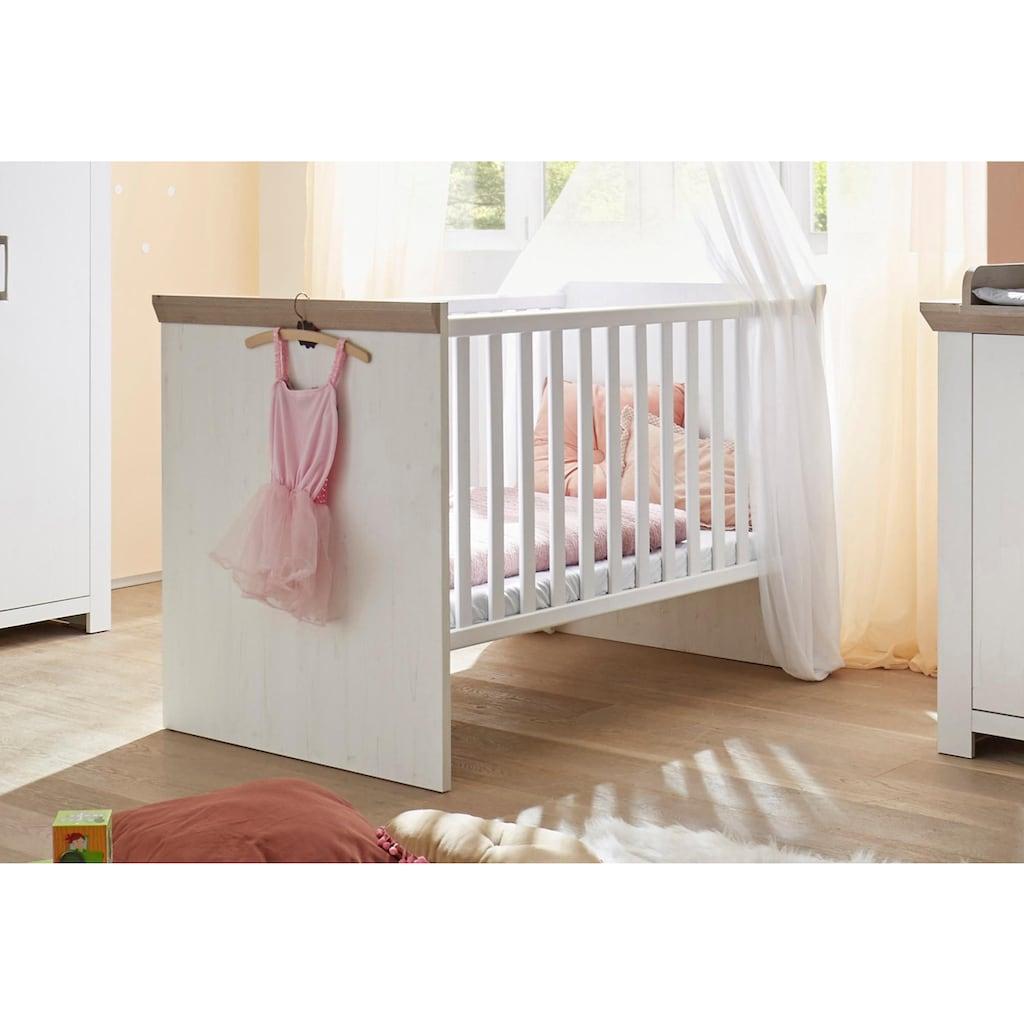 Babyzimmer-Komplettset »Stralsund«, (Set, 3 St.), Bett + Wickelkommode + 3 trg. Schrank