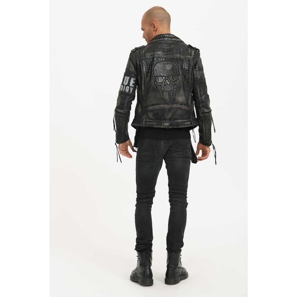 trueprodigy Lederjacke »Dwayne«, mit Nieten, Print und Waschung
