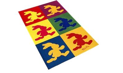 Felix der Hase Kinderteppich »FE-411«, rechteckig, 6 mm Höhe, Stoff Druck, weiche Mircofaser kaufen