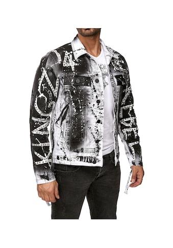 KINGZ Jeansjacke, mit extravagantem Print und Nieten kaufen