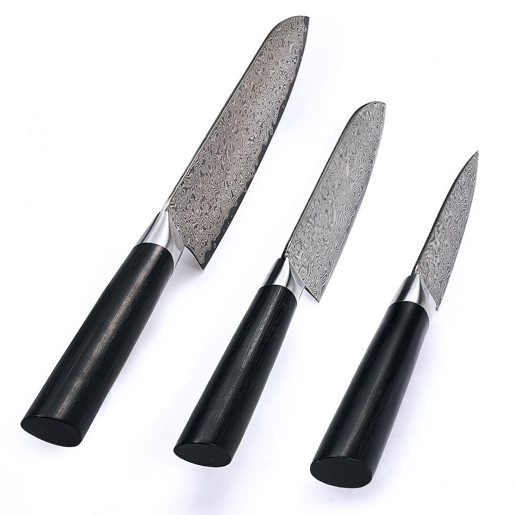 ZAYIKO Damastmesser »Black Edition«, japanischem Damaststahl, 3-teilig
