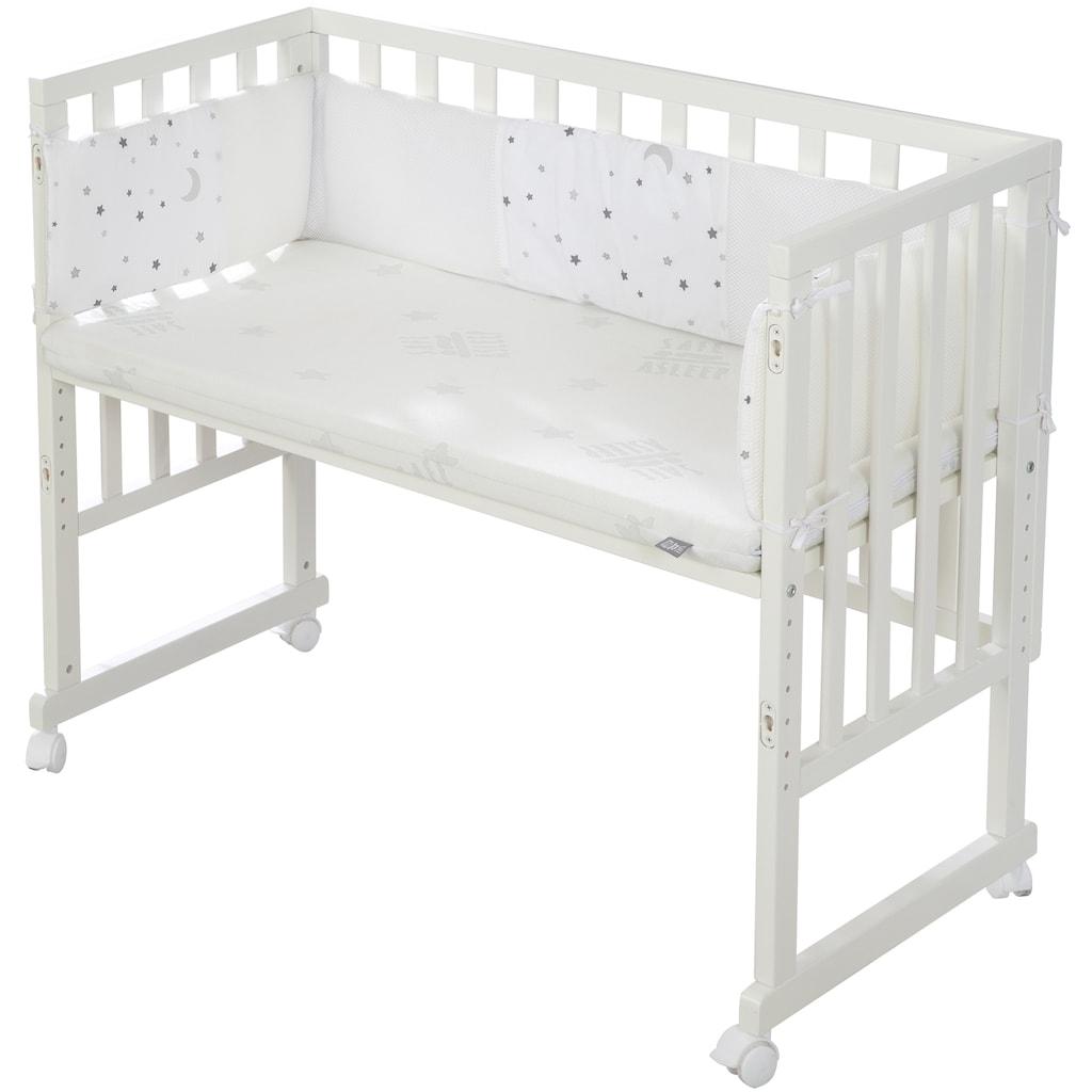 roba® Stubenbett »Safe Asleep® 2in1, weiß, Sternenzauber grau«, mit 4 Rollen, Matratze, Nestchen und Sicherheitsbarriere