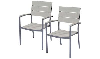 GARDEN PLEASURE Gartenstuhl »OLIVIA«, (2er Set), Non - Wood, stapelbar, grau kaufen
